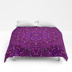 Pretty Purple Mandala Garden Comforter by David Zydd Mandala Comforter, Boho Chic, Bohemian, Flower Colors, Flower Mandala, Mandala Coloring, Comforters, Beds, Duvet Covers