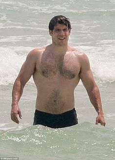 Not so rusty: Henry Cavill was impossible to miss as he emerged from the…
