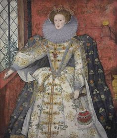 Elizabeth I wearing The Three Brothers Jewel and holding a fan and Olive Branch. 1585-1590