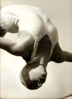 Olympic champion Dorothy Poynton-Hill photographed by Lothar Rübelt competing in the summer Olympic Games, Berlin 1936.