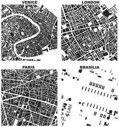 Urban form of central Venice, London, Paris, and Brasilia
