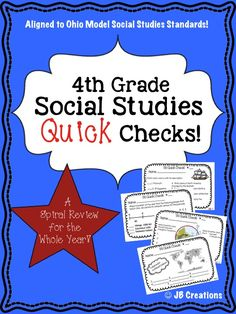 Reinforce key social studies concepts ALL YEAR!  This Quick Check Spiral Review features 30 short review sheets (with answer key) that are completely aligned to the 4th Grade Ohio Model Social Studies standards!  Perfect for use as a weekly review station, intervention task, enrichment challenge, homework, etc! http://www.teacherspayteachers.com/Product/4th-Grade-Social-Studies-Quick-Check-Spiral-Review-Set-Ohio-Model-Standards-1387762