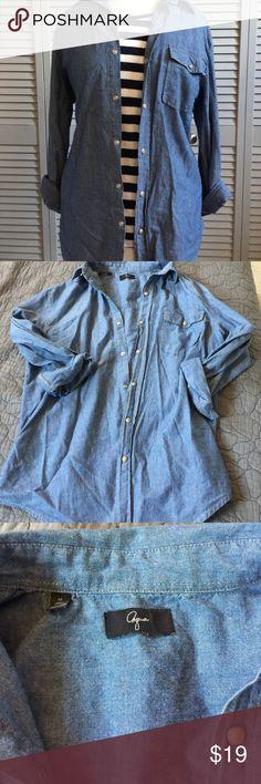 Aqua Chambray Button Down Shirt Versatile Aqua chambray button down shirt.  Great for layering for endless possibilities. Aqua Tops Button Down Shirts