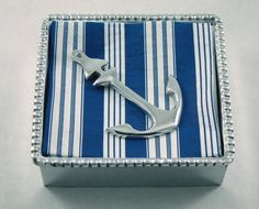 Cocktail Napkin Box with Anchor weight for your deck party next summer? - check Potted Geranium