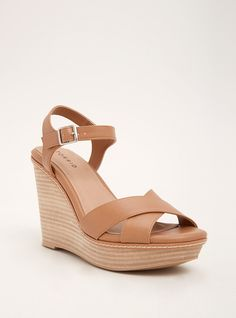 Faux Leather Wooden Platform Wedges (Wide Width) | Torrid