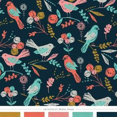 Color Inspiration Daily: Bloom Birds Art Print by Bethan Janine via Creature Comforts Textures Patterns, Color Patterns, Print Patterns, Fun Patterns, Bird Patterns, Pattern Print, Nursery Inspiration, Color Inspiration, Nursery Ideas