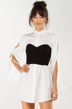 Bustier Detail Dress in White