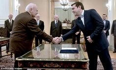 Making history: Alexis Tsipras, the leader of Greece's far-left Syriza party is sworn in a...