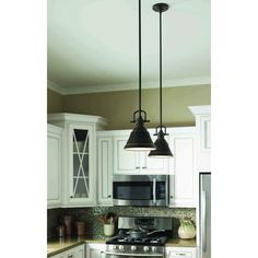 Island Lights from Lowes-- allen + roth 8-in W Bronze Mini Pendant Light with Metal Shade at Lowes.com