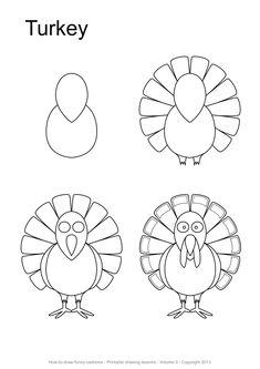 Mini Drawings, Doodle Drawings, Cartoon Drawings, Easy Drawings, Thanksgiving Cartoon, Thanksgiving Projects, Thanksgiving Treats, Drawing Skills, Drawing Lessons