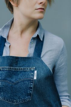One of a kind remade denim apron by Yours Again.This sustainable denim apron is made from second materials, with least wastage possible. Denim Aprons, Ethical Fashion, Multifunctional, Blue Denim, Overalls, Urban, Collection, Catsuit, Sustainable Fashion