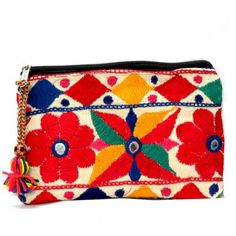 Red Embroidery Flowers Pouch, $29