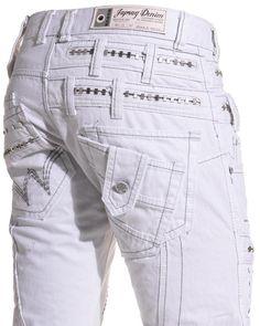 519014e43c4f Japrag - Jeans homme double ceinture blanc - Couleur   Blanc Taille   Fr 48  US 38  Amazon.fr  Vêtements et accessoires