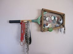 Jewelry holder made out of a raquet!