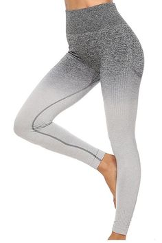 Seamless Gradient Bra Leggings Set – myslady Nylons, Sport Matte, Ombre Fabric, Activewear Sets, Grey Ombre, Sport Wear, Red And Grey, Sport Fashion, Women's Leggings