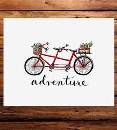 Adventure Tandem Bicycle Art Print
