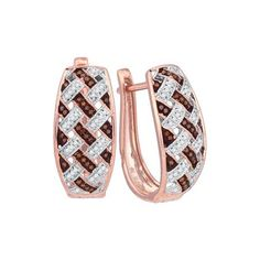10kt Rose Gold Womens Round Red Colored Diamond Hoop Earrings 1/3 Cttw