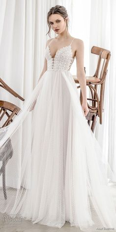 asaf dadush 2017 bridal sleeveless spaghetti strap deep sweetheart neckline heavily embellished bodice tulle skirt romantic sexy soft a  line wedding dress corset back sweep train (05) lv -- Asaf Dadush 2017 Wedding Dresses