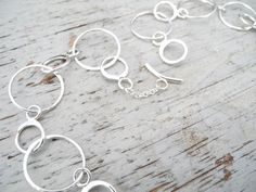 Beaten sterling silver necklace, hammered chain, silver link necklace, unique jewellery, hoop necklace, double loop necklace, big chain mail