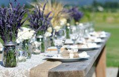 The Confetti Blog: Purple Wedding Themes - Ideas, Flowers and Confetti Petals Lavendar wedding table set up
