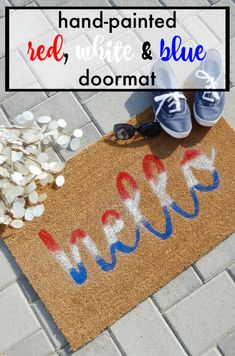 Learn How To Make A Hand Painted Doormat With Our DIY Doormat Tutorial! A Simple And Fun Way To Personalize Your Front Porch And Cute DIY Door Welcome Mat. #doormat #frontporch #DIYdoormat #handpainteddoormat #welcomemat #ombre #DIY #crafts #summer #summerporch #outdoormat