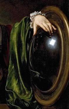Michelangelo Merisi da Caravaggio: Martha and Mary Magdalene, detail.