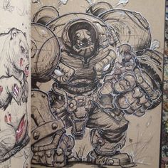 For those that don't know-this is Calibretto from Battle Chasers by Joe Maduriera. Cool Sketches, Drawing Sketches, Cool Drawings, Robot Concept Art, Robot Art, Comic Books Art, Comic Art, Arte Cyberpunk, Character Design Inspiration