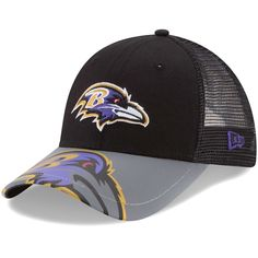Baltimore Ravens New Era Youth Mega Flect Snapback Adjustable Hat -  Black Gray 315dded4409