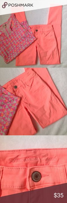 "American Eagle Outfitters Neon orange jeggings American Eagle Outfitters Neon orange jeggings. Flat lay measurements waist 14"" American Eagle Outfitters Jeans Skinny"