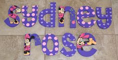 Personalized, Hand Painted Hanging Wooden Wall Letters for Nurseries and Kids' Rooms - Minnie Mouse with Purple, Ladybugs, Polka Dots Leaves on Etsy, $10.00