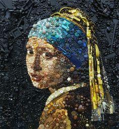 Het meisje met de parel, van knopen en andere oude rommel | girl with the pearl earring, in buttons