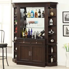 Share and Save $5 Off Any Order Over $99. (excludes a few products) Parker House Stanford Library 4 Piece Bar Base & Hutch w/ Corner Bookcases in Light Vintage Sherry #dynamichome