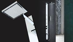 Well Quadra: colonna doccia a parete o incasso con 4 getti verticali orientabili a 3 funzioni e soffione quadrato