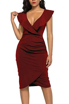 5d924c2fb7b6 WIWIQS Women's Sexy Deep V Neck Long Sleeve/Sleeveless Bodycon Dress Front  Slit Bandage Midi