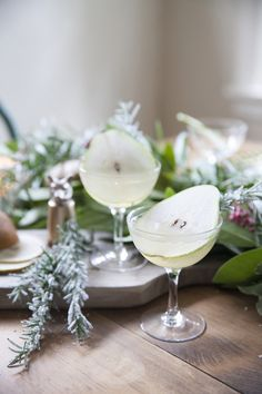 the pear tree holiday cocktail recipe with gin and kombucha |  by coco kelley