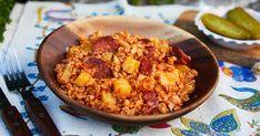 Retrográd: Hortobágyi tarhonya - a slambuc tarhonyás változat... Lidl, Goulash, Stew, Grains, Food, Grill Party, Essen, Meals, Seeds