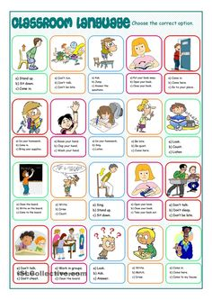 Classroom Language Multiple Choice - English ESL Worksheets for distance learning and physical classrooms English Worksheets For Kids, English Lessons For Kids, Kids English, English Activities, Learn English, Classroom Commands, Classroom Rules, Classroom Language, Vocabulary Worksheets