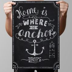 "Chalkboard Art-Nautical-Family-Sea-Marine-Home-Lighthouse-Rope-Ship-Anchor-Relations-Roots-Home is where anchor drops-Print 8.5 x 11"" No.920"