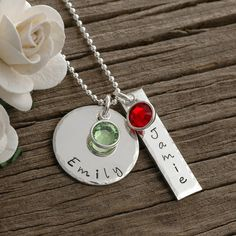 personalized hand stamped jewelry, necklace with birthstones, names or dates, $41, http://www.etsy.com/shop/divinestampings