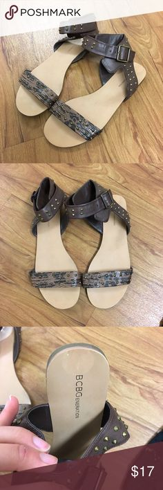 BCBG Studded Sandals Like new, BCBGeneration brown with gold studded sandals. Size 8 and have a cute panel of faux crocodile print on the front strap. Super cute and never worn! Make me an offer or bundle for 20% off! BCBGeneration Shoes Sandals