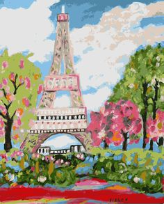 Eiffel Tower Dream Digital  - Print by Karen Fields 8x10