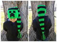 Minecraft Creeper Crochet Stocking Cap Elf Hat. Available in Infant - Adult sizes. Custom Made any Color!! Crochet Winter Beanie with Tassel