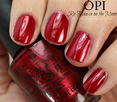 OPI Ro-Man-ce on the Moon Nail Polish Swatches // Starlight Collection for Holiday 2015 Opi Red Nail Polish, Moon Nails, Nail Polish Collection, Mani Pedi, Swatch, Beauty Products, Nail Art, Glitter, Holiday