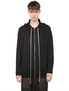 RICK OWENS Hooded Zip-Up Cashmere Cardigan, Black. #rickowens #cloth #knitwear