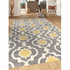 Well Woven Rosa Gold/Gray Rug   Wayfair Mellow Yellow, Grey Yellow, Dark Blue, Home Design, Yellow Area Rugs, My New Room, Online Home Decor Stores, Online Shopping, Home Decor Outlet
