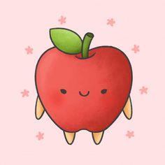 Cute Little Drawings, Cute Cartoon Drawings, Cartoon Faces, Kawaii Drawings, Kawaii Doodles, Cute Doodles, Drawing Apple, Fruit Cartoon, Funny Monsters