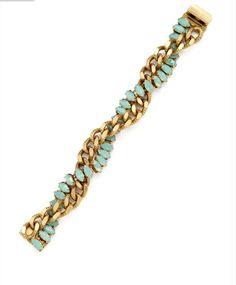 Shop Elizabeth Cole Jewelry | New Elizabeth Cole NEW Elizabeth Cole Gold Link & Opal Crystal Braided Bracelet | Designer Consignment Online | SnobSwap