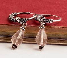 Rose Quartz Sterling Silver Dangle Earrings For Her by GaHooleTree, $46.00
