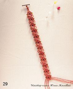 Cómo hacer un pulsera de macramé con nudo festón y cuentas. How to make a macrame beaded bracelet, with half hitch knot.