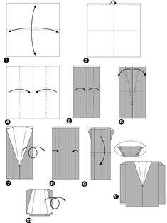 Diagramme d'origami de costume, étape 1